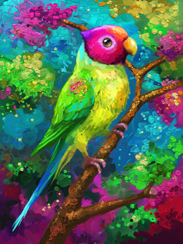plum-headed parakeet by Cortoony