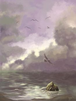 Sea and Gull by Morhin