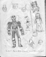 Kamen Rider OOO and sketches by littlekraken