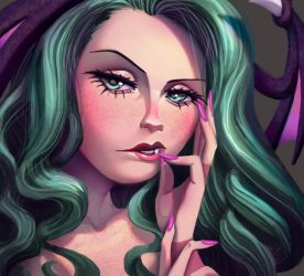 One face a day #51/365. Morrigan Aensland by Dylean