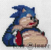 Fat Sonic Cross Stitch by LordLibidan