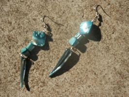 Blue shell piece earrings by darkgarden