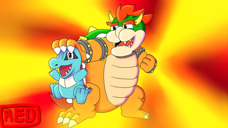 Bowser and Totodile (Fan-Art) by red13adv