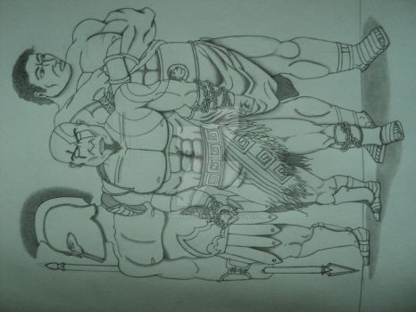 Achillies, Kratos, and Hercules by MoonmansArtworks