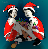 Luffy and Ace - Merry christmas by tahonard