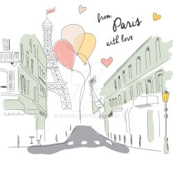 Paris Postcard Hand Drawn by BlueLela