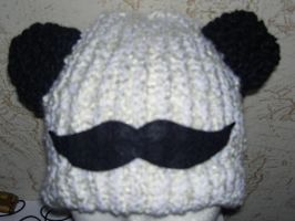 Pandawoostache Hat for Gift Exchange by SmilingMoonCreations