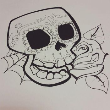 - Tattoo Scribble: Candy Skull - by Cyberbirdy