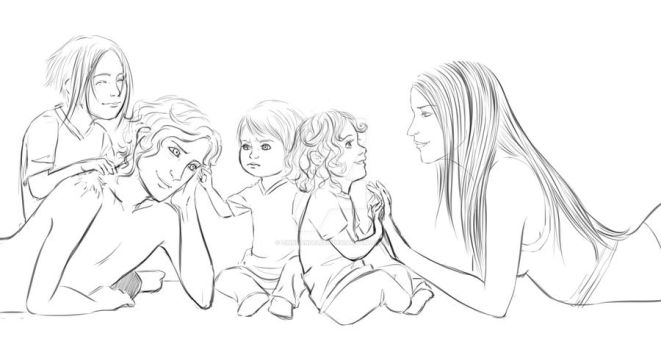 A happy family by ZinnDandelion