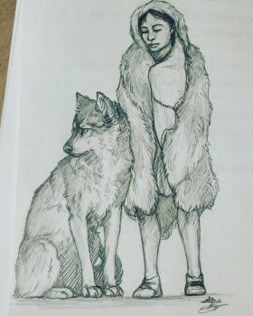 A boy and his friend's dog by Hawkpath-tail