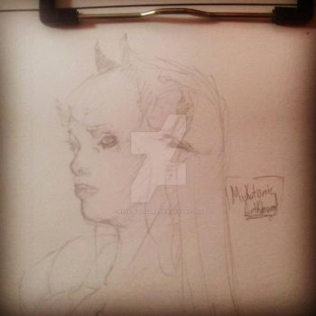 Some One Sketch of Girl Demon :) by EnergiaOscura