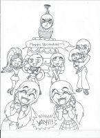 The Twins' Birthday~! (uncolored) by XSreiki772