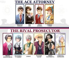 Ace Attorney and Rival Prosecutor by AFD42