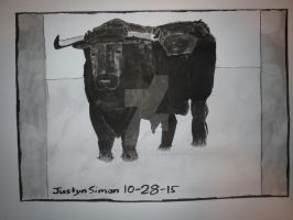 InkTober Drawing #28 Black Bull by Justyn16