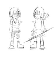 Sketch: Undertale and Glitchtale by Jeancreep
