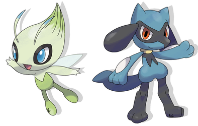 Celebi and Riolu - Sugimori - by RocketHaruka