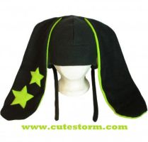 Neon Green and Black Star Bunny Hat by The-Cute-Storm