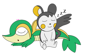 [AT] Emolga and Snivy by yoshiLover1000