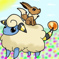 30 Day Pokemon Challenge - Day 2: Mareep and Eevee by celiest