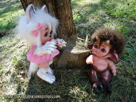 Myth-Babies Wolf Girl and Baby Satyr, 4 of 4 by briescha