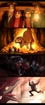 Gravity Falls The Land Before Swine scene re-draws by Nightrizer