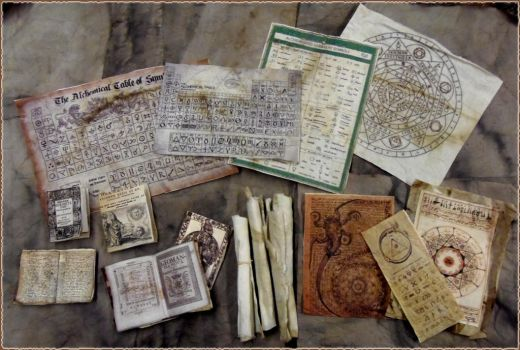 Miniature Alchemy Books, Scrolls and Charts by skphile