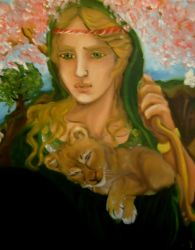 Artemis with baby lionness by templeofapollon