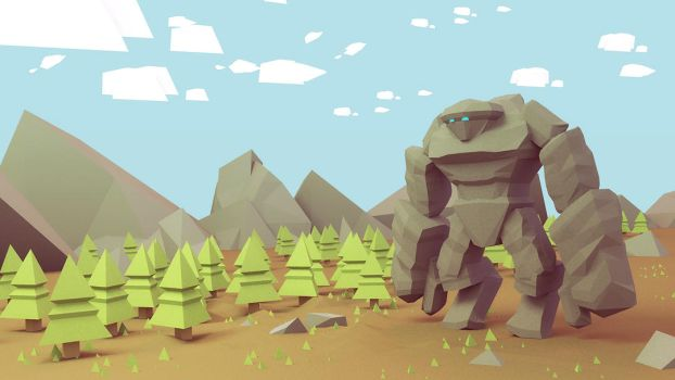 The Golem in the forest - low poly illustration by brainchilds