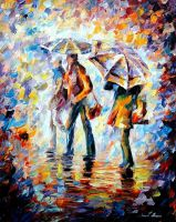 NIGHT RAIN by Leonid Afremov by Leonidafremov