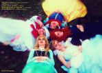Fairy Godmother and the Disney Princesses by pearlANDblood