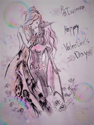 Batwoman Valentine's Day Fanart2 ink drawing style by DarkChildRed