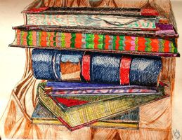 Book Stack by SonyaSpiral