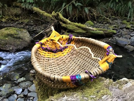 Basket Bowl with Floral Pips in Magical Forest by WeepingGrove
