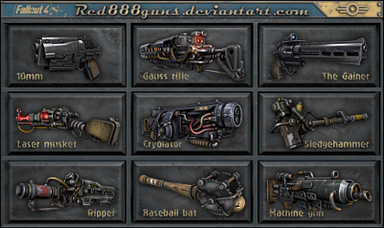Fallout 4 weapons for classic Fallout by Red888guns