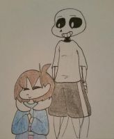 Frisk and sans  by zoozybeencloned