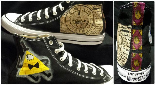 Gravity Falls Bill Cipher Themed Converse by rawrdoodles