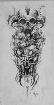Skully Demon Abomination sleeve by ShawnCoss