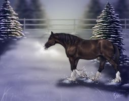 Christmas Clydesdale by RebeccaStapp