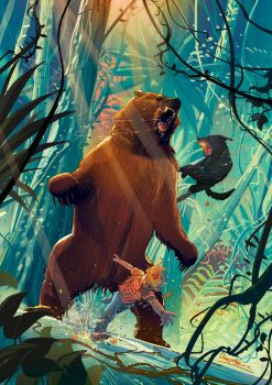Malcolm and Ramses vs Bear by Jovan-Ukropina