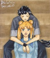 Seiya and Usagi sitting by Seeraholic