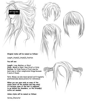 Anime hair brushes by OrexChan