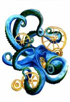 Steampunk octopus by TheCurlyFugu
