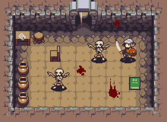 Dungeon with skeletons by iSohei