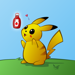 Pikachu Loves Ketchup by Cow-Tail