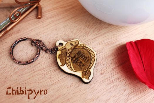 Wooden dragon year keychain by ChibiPyro