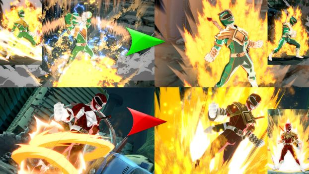 DBFZ Red and Green Ranger V2 mod pack by monkeygigabuster