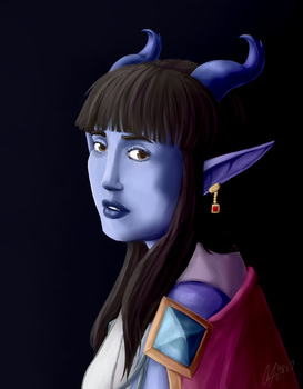 Tiefling With The Ruby Earring by Tigress-Cherry-Tea