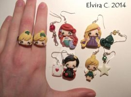 Disney polymer clay earrings by elvira-creations