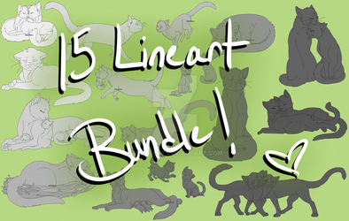Warrior Cats - 15 Lineart Bundle by MintChiip