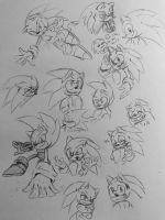 Sonic doodles by BlondeSpirit